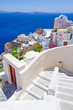 White architecture of Oia town on Santorini island, Greece