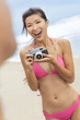 Asian Chinese Woman Girl Camera at Beach in Bikini