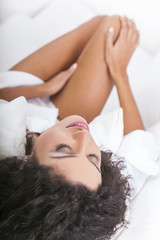 Beautiful Sexy Woman in White Bed