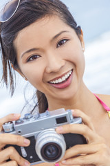 Asian Chinese Woman Girl With Retro Camera