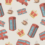 Vector colorful seamless pattern of hand-drawn London symbols