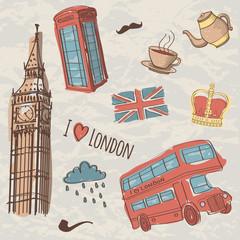 Vector colorful set of hand-drawn London symbols