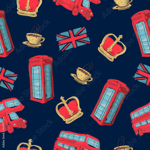 Vector colorful seamless pattern of hand-drawn London symbols - 60499724