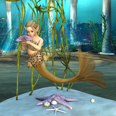 Little Mermaid holding Anemone Flower