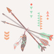 Vector illustration of different ethnic arrows with feathers - 60500596