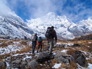 Trekkers walking to Annapurna Sanctuary, Himalayas, Nepal