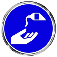 Gebotszeichen Hautschutzmittel benutzen