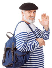 Old guy with backpack