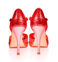 Shoes for ladies in high heels isolated on a white background.