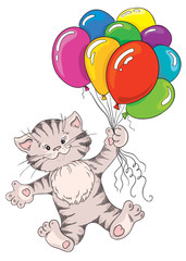 Greeting card Happy birthday. Cat flying on bunch of balloons