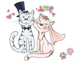 Groom and bride, cat's wedding. Cute romantic background