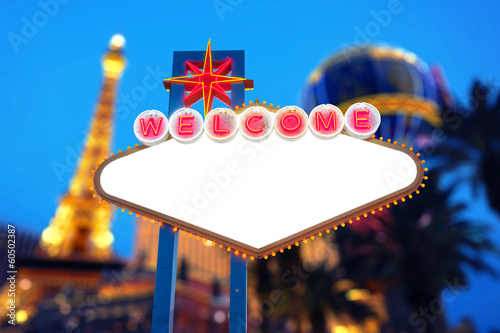 Foto op Canvas Las Vegas Blank Welcome To Las Vegas neon sign
