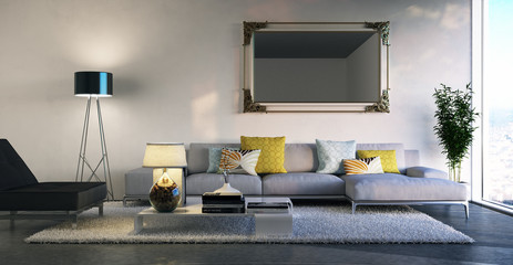 sitzgruppe in schlichtem Loft - luxury sofa in apartment