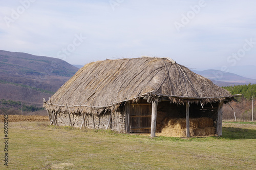 Hayloft from interwoven sticks and thatch