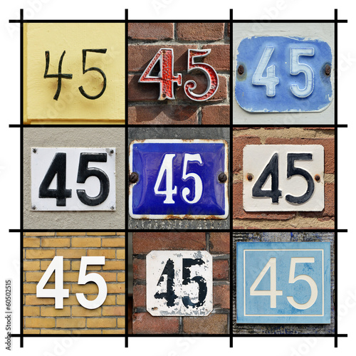 Collage of House Numbers Forty-five Poster