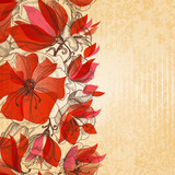 Vintage floral background, cardboard texture