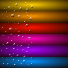 Abstract Vector Background. Water Drops on Colorful Glass.