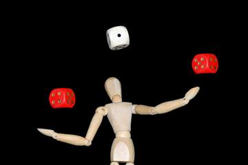 Würfel jonglieren, q.