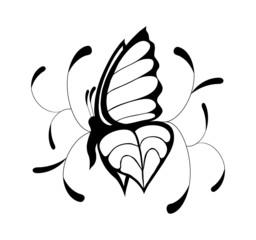 Бабочка черно-белая разобранная