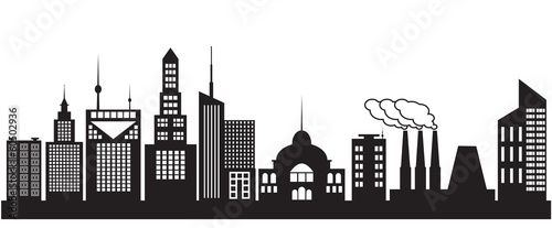 Nine silhouettes of city buildings. Vector illustration