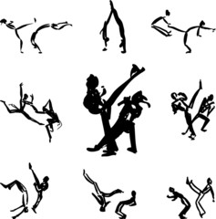 Set of sketched black capoeira fighters.