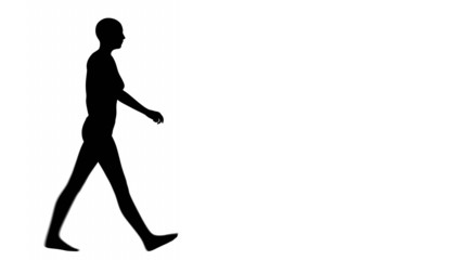 Silhouette of a woman walking - side view.