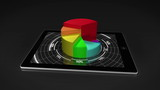 Colourful 3d pie chart on tablet pc