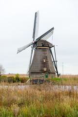 Traditional Dutch windmill in winter Kinderdijk. Netherlands.