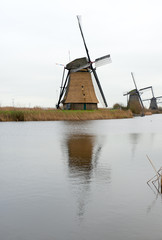 Traditional Dutch windmill in winter Kinderdijk. Netherlands.