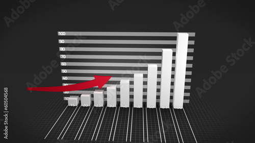 Grey bar chart growing with red arrow