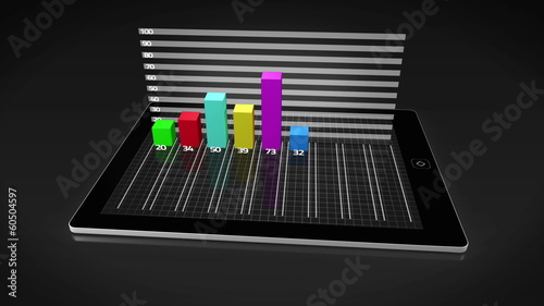 Colourful 3d growing bar chart on tablet pc