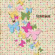 Butterfly background, old paper texture and polka dot pattern