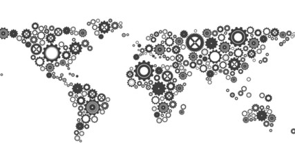 World map made of cogs and wheels