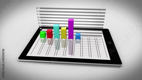 Colourful 3d bar chart on tablet pc
