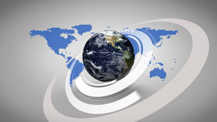 3d earth spinning on blue map background