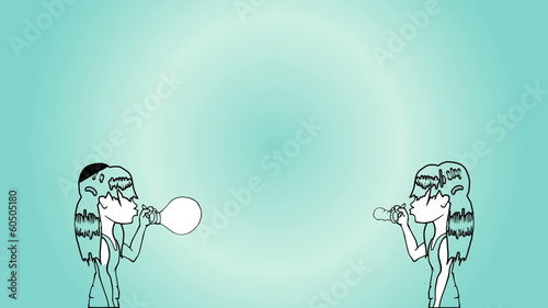 Animation of girls blowing light bulb and earth balloons