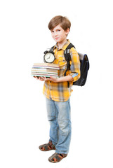 The young boy with books, clock and knapsack