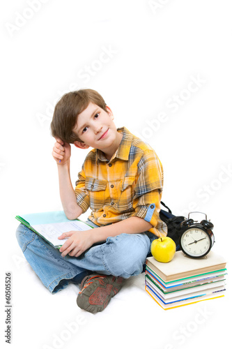 The boy with exercise book