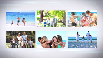 Familys on vacation montage