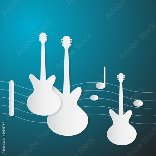 Abstract Blue Music Background. Guitars and Staff