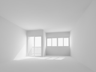 white wall,empty room,3d interior