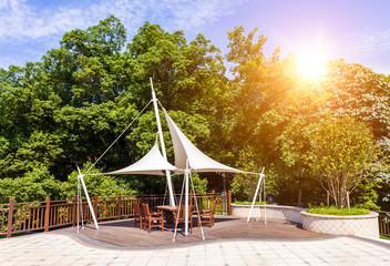 Park pavilion with sunlight
