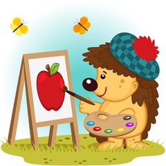 hedgehog artist -  vector illustration