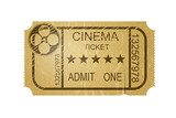 Vintage cinema ticket with grunge