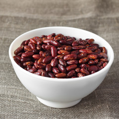Red beans in white bowl