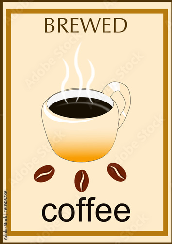 brewed coffee bean with steam over cup