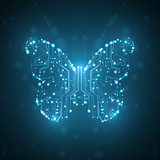 Circuit board background, technology illustration, butterfly