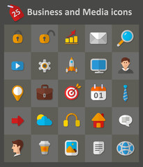 Business and Media Icons. Set of flat icons.