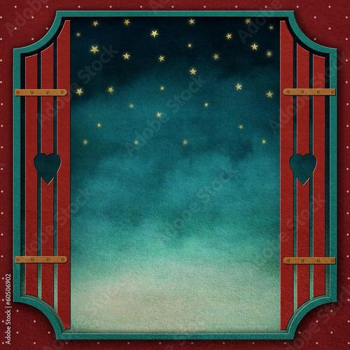 Winter background with  window and shutters