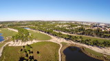 Aerial footage of a golf course in Doral Florida
